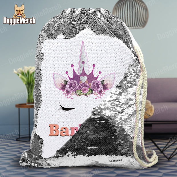 Personalized Unicorn With Tiara Drawstring Sequin Backpack