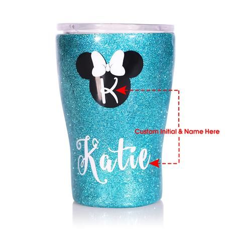Custom Vacuum Insulated Tumbler with Glitter Name 12oz Stainless Steel Water Bottle Travel Mug Gift
