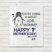 Personalized Penguin Mother's Day Cozy Plush Fleece Blanket