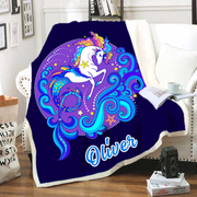 Customized Warm Sherpa Blankets Unicorn II