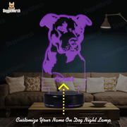 Personalized 7-Color 3D Pit Bull Lamps of Your Pet's Name