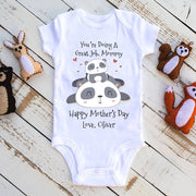 Custom Panda Mother's Day Baby Onesies and Matching Mom Shirts