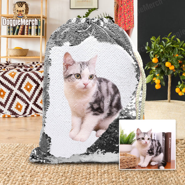 Custom Sequins Backpack of Your Pet's Photo
