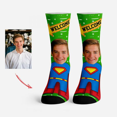 Personalized Face Socks Superman