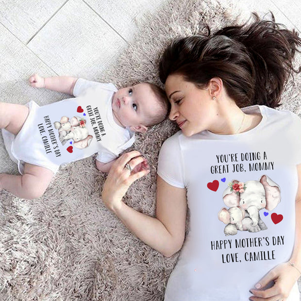 Personalized Elephant Mother's Day Baby Onesies and Matching Mom Shirts