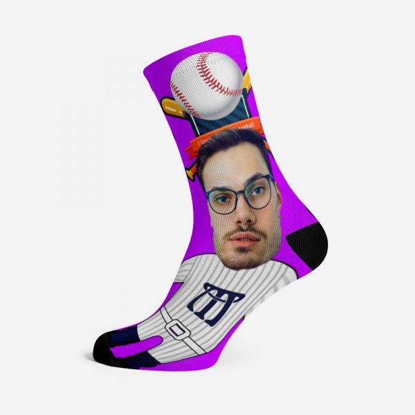Personalized Face Socks Baseball Player