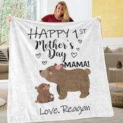 Personalized Mama Bear Baby Cub Cozy Plush Fleece Blankets