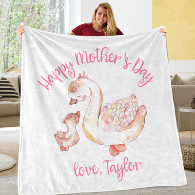 Custom Goose Mama and Baby Mother's Day Cozy Plush Fleece Blankets