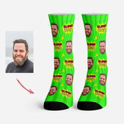 Custom Face Socks Super Dad Socks Red / Personalized Funny Socks Gifts for Dad