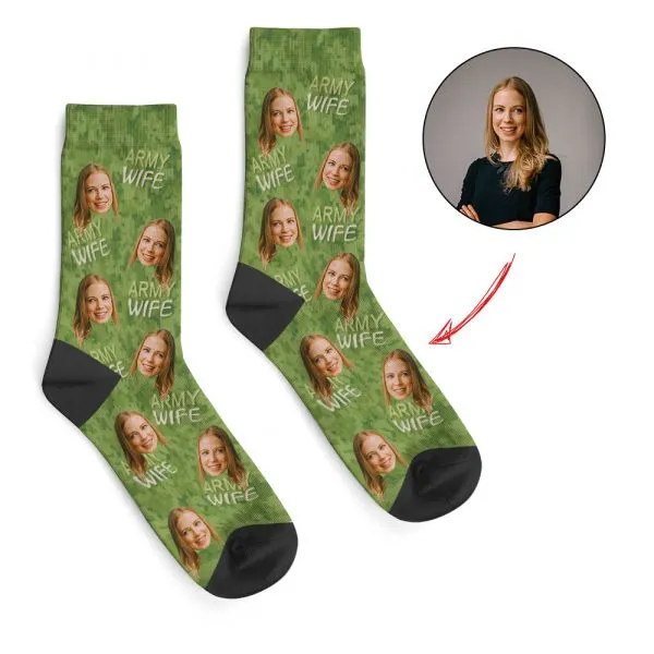 Independence Day Custom Face Socks Army Wife