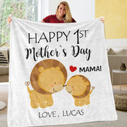Custom Lion Mother's Day Cozy Plush Fleece Blankets