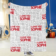 Customized Name Cozy Plush Fleece Blanket - Love You