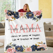 Custom Floral Cozy Plush Fleece Blankets with Your Nick & Kids' Names