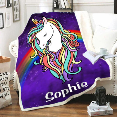 Personalized Magic Unicorn Warm Sherpa Blankets