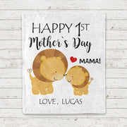 Personalized Lion Mother's Day Baby Onesies and Matching Mom Shirts
