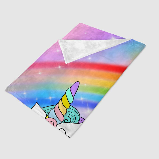 Custom Mermaid & Rainbow Unicorn Cozy Plush Fleece Blanket