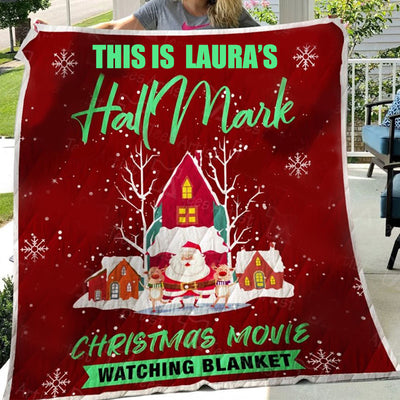 Custom Santa Claus And Snowflake Hallmark Christmas Movie Watching Blanket