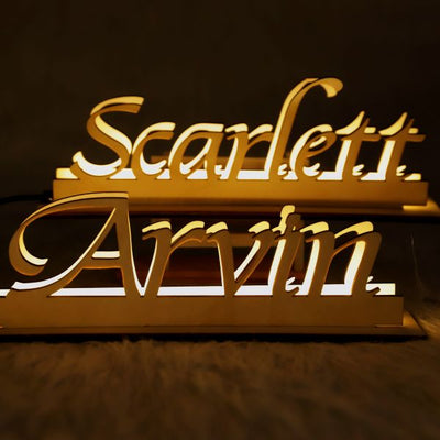 Personalized Wooden Engraved Name LED Lamp Custom Night Lights with Name