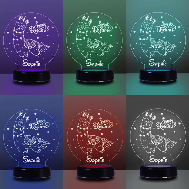 Personalized Name Night Lights for Kids Sweet Dream Alpaca