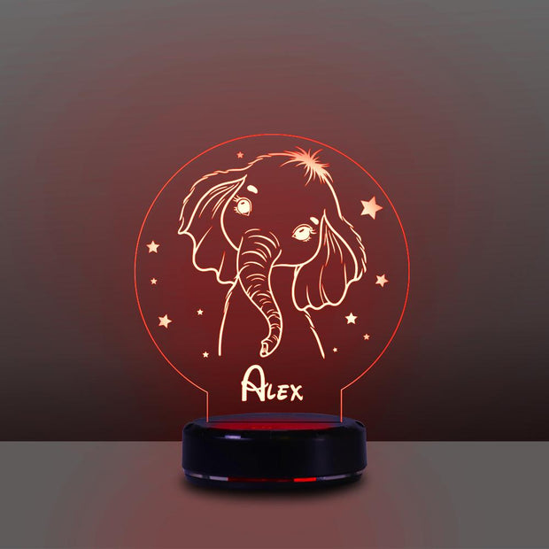 Personalized Name Night Lights for Kids Cartoon Elephant