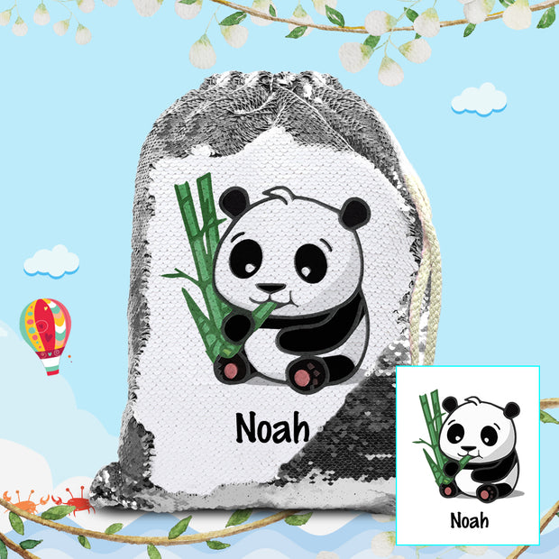 Personalized Giant Panda With Bamboo Drawstring Sequin Backpack