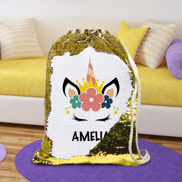 Personalized Stylish Unicorn Drawstring Sequin Backpack