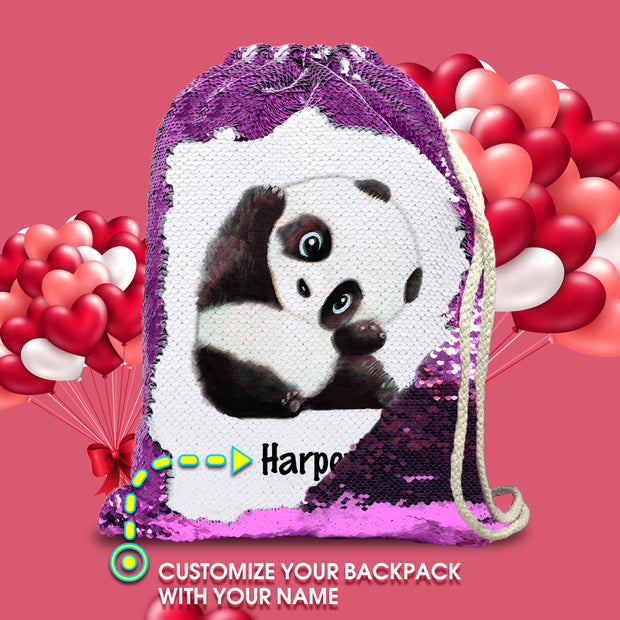 Personalized Giant Panda Drawstring Sequin Backpack
