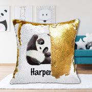 Personalized Giant Panda Sequin Pillow With Inner