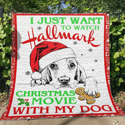 Custom Hand-drawn Dog With Santa Hat Hallmark Christmas Movie Watching Blanket