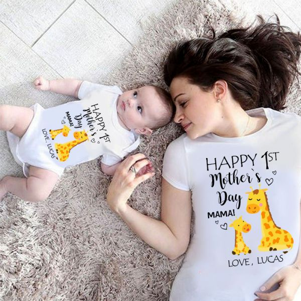 Custom Giraffe Mother's Day Cozy Plush Fleece Blankets