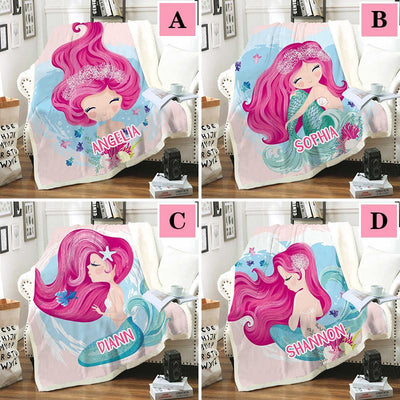 Personalized Mermaid Throw Blanket Microfiber Blanket for Adult & Kids