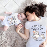 Custom Wolf Mother's Day Onesies and Matching Mom Shirts