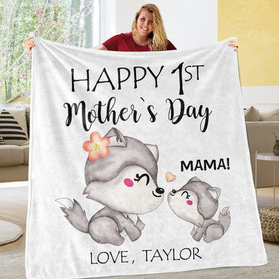 Custom Wolf Mother's Day Cozy Plush Fleece Blankets