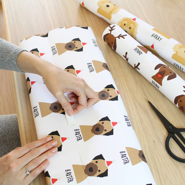 Personalized Christmas Dog Wrapping Paper with Customized Name