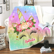 Custom Glitter Unicorn Warm Sherpa Blankets