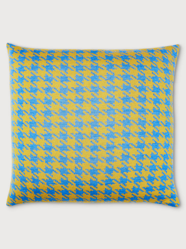 Houndstooth Baby Blue and Sunflower Yellow Cushion
