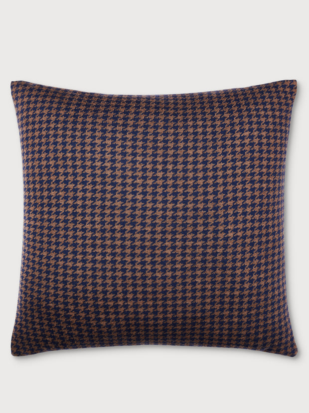 Houndstooth Dark Navy and Caramel Brown Cushion