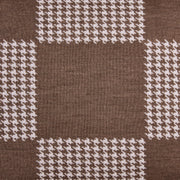 Squared Patch Houndstooth Sand Brown and Seashell White Cushion