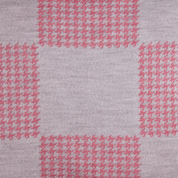 Squared Patch Houndstooth Candy Pink and Pearl Grey Cushion