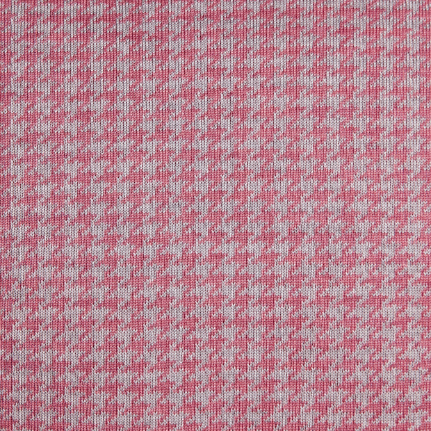 Houndstooth Candy Pink and Pearl Grey Cushion