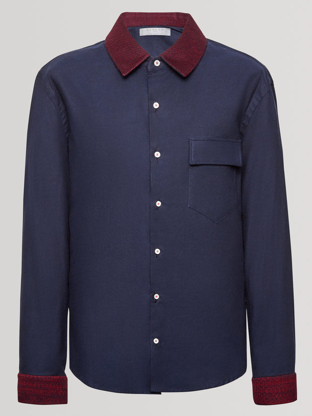 Rose Knit Collar Navy Slim Fit Shirt