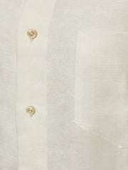 Cream Slim Fit Linen Shirt
