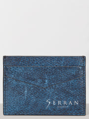 Naval Blue Aquatic Leather Card Holder
