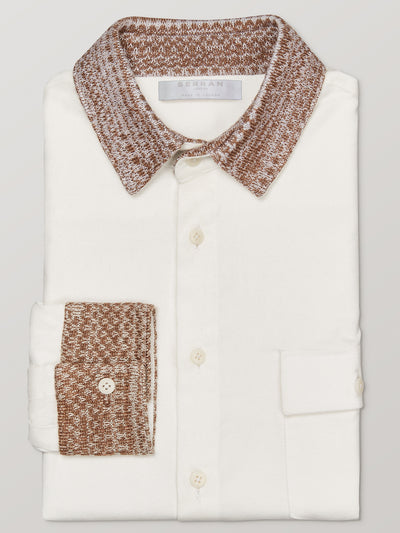 Caramel Knit Collar Slim Fit Shirt