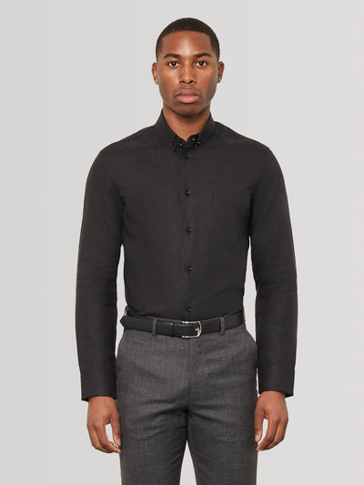 Obsidian Black Slim Fit Linen Shirt
