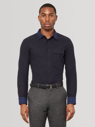 Midnight Navy Knit Collar Navy Slim Fit Shirt