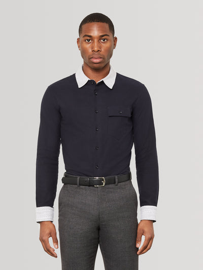 Oyster White Knit Collar Navy Slim Fit Shirt