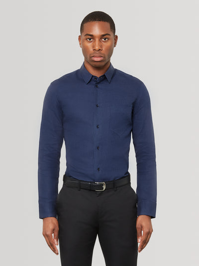Navy Slim Fit Linen Shirt