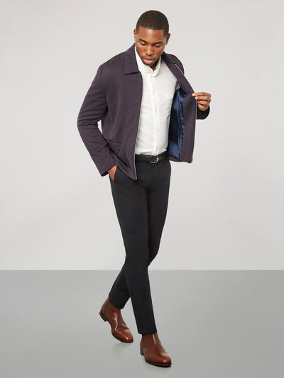 Navy & Brown Knitted Jacket