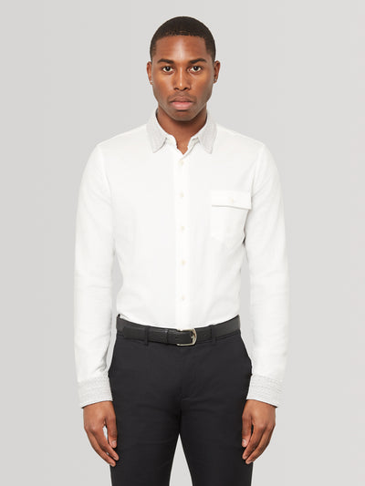 Silver Knit Collar Slim Fit Shirt